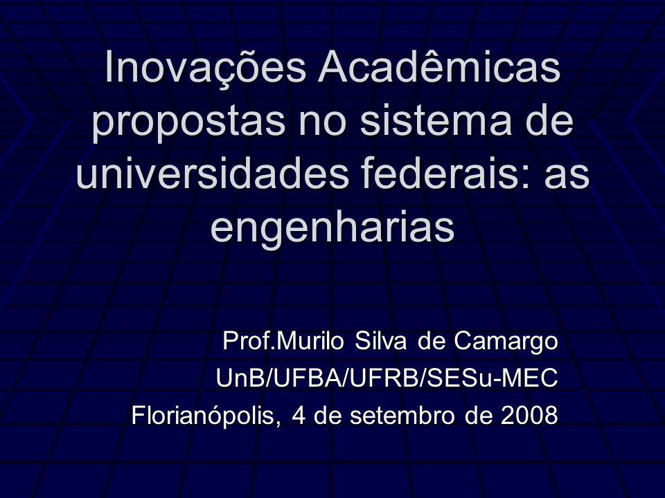 Inovações Acadêmicas propostas no sistema de universidades federais: as engenharias Prof.Murilo Silva de Camargo UnB/UFBA/UFRB/SESu-MEC Florianópolis, 4 de setembro de 2008