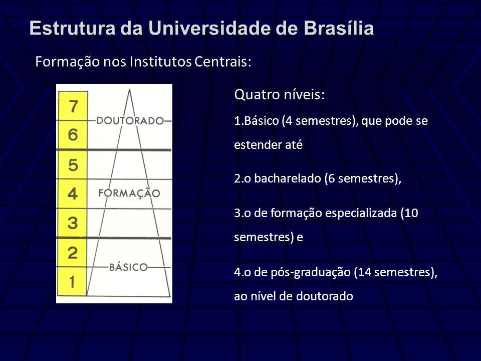 Estrutura da Universidade de Brasília Formação nos Institutos Centrais: Quatro níveis: 1.Básico (4 semestres), que pode se estender até 2.o bacharelado (6 semestres), 3.o de formação especializada (10 semestres) e 4.o de pós-graduação (14 semestres), ao nível de doutorado