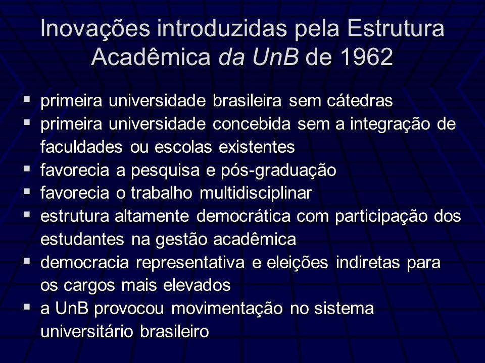 Inovações introduzidas pela Estrutura Acadêmica da UnB de 1962 primeira universidade brasileira sem cátedras primeira universidade brasileira sem cáte