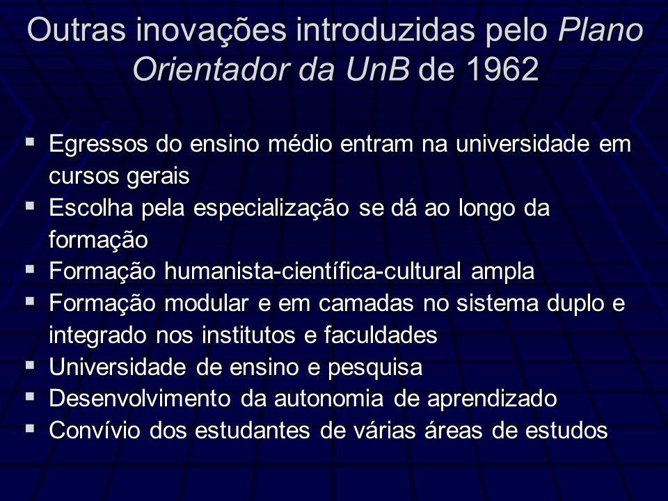 Outras inovações introduzidas pelo Plano Orientador da UnB de 1962 Egressos do ensino médio entram na universidade em cursos gerais Egressos do ensino