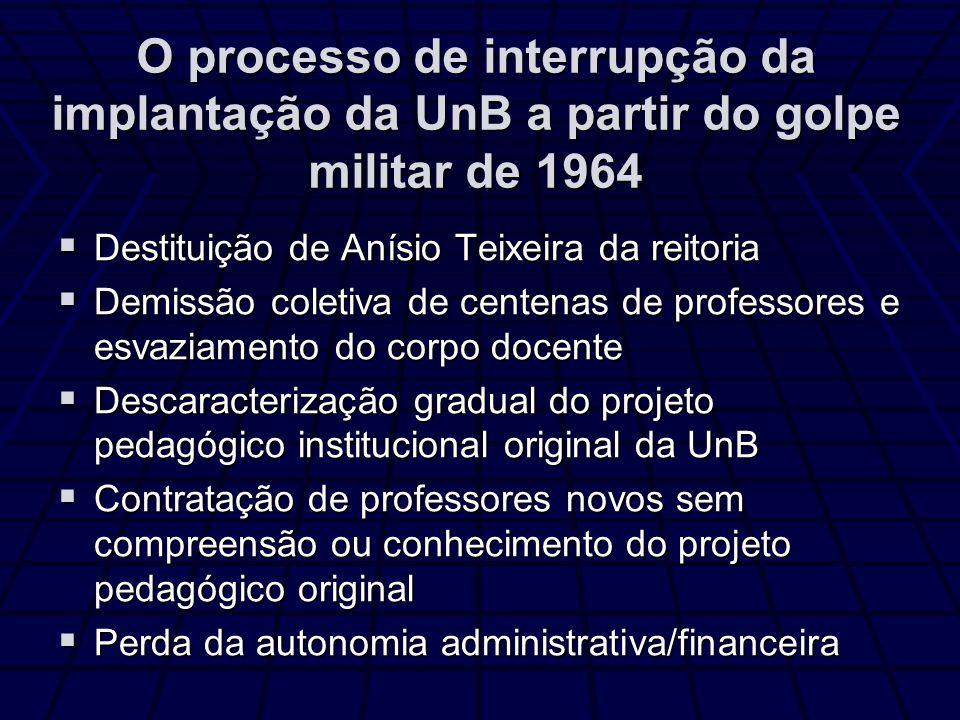 O processo de interrupção da implantação da UnB a partir do golpe militar de 1964 Destituição de Anísio Teixeira da reitoria Destituição de Anísio Tei