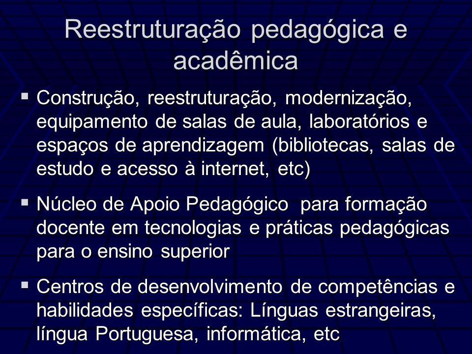 Reestruturação pedagógica e acadêmica Construção, reestruturação, modernização, equipamento de salas de aula, laboratórios e espaços de aprendizagem (bibliotecas, salas de estudo e acesso à internet, etc) Construção, reestruturação, modernização, equipamento de salas de aula, laboratórios e espaços de aprendizagem (bibliotecas, salas de estudo e acesso à internet, etc) Núcleo de Apoio Pedagógico para formação docente em tecnologias e práticas pedagógicas para o ensino superior Núcleo de Apoio Pedagógico para formação docente em tecnologias e práticas pedagógicas para o ensino superior Centros de desenvolvimento de competências e habilidades específicas: Línguas estrangeiras, língua Portuguesa, informática, etc Centros de desenvolvimento de competências e habilidades específicas: Línguas estrangeiras, língua Portuguesa, informática, etc