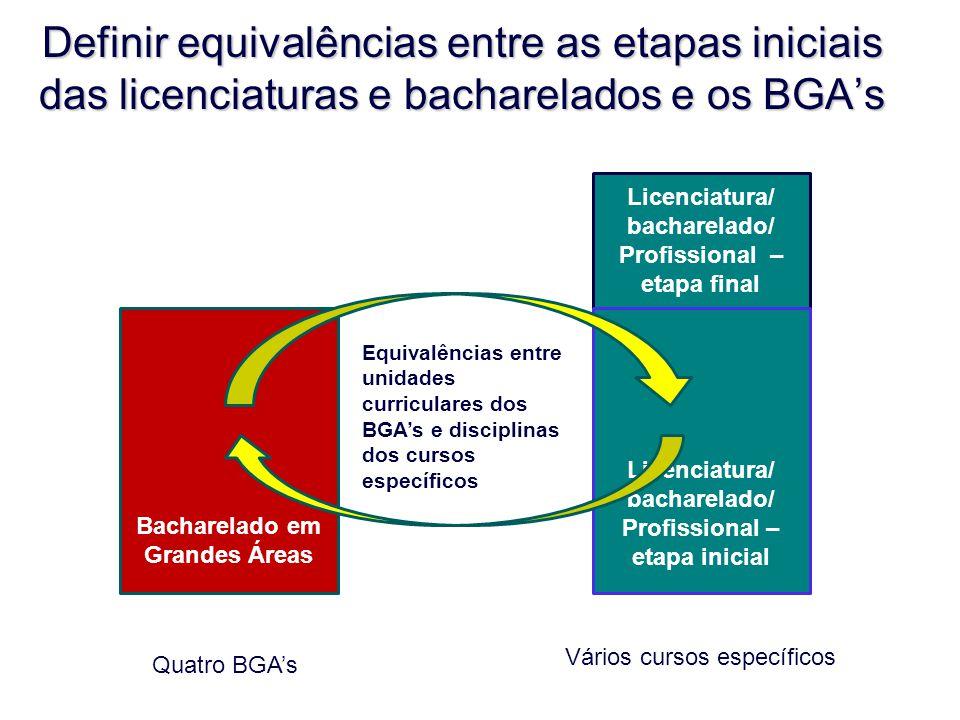 Licenciatura/ bacharelado/ Profissional – etapa final Licenciatura/ bacharelado/ Profissional – etapa inicial Definir equivalências entre as etapas in