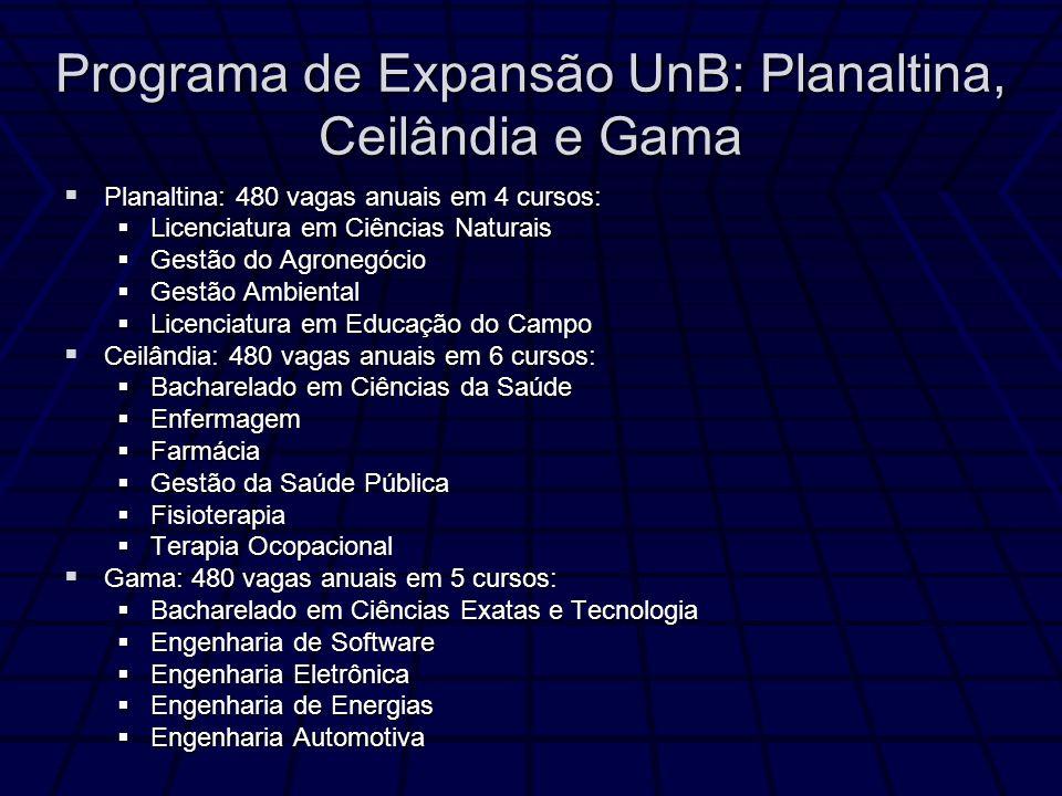 Programa de Expansão UnB: Planaltina, Ceilândia e Gama Planaltina: 480 vagas anuais em 4 cursos: Planaltina: 480 vagas anuais em 4 cursos: Licenciatur
