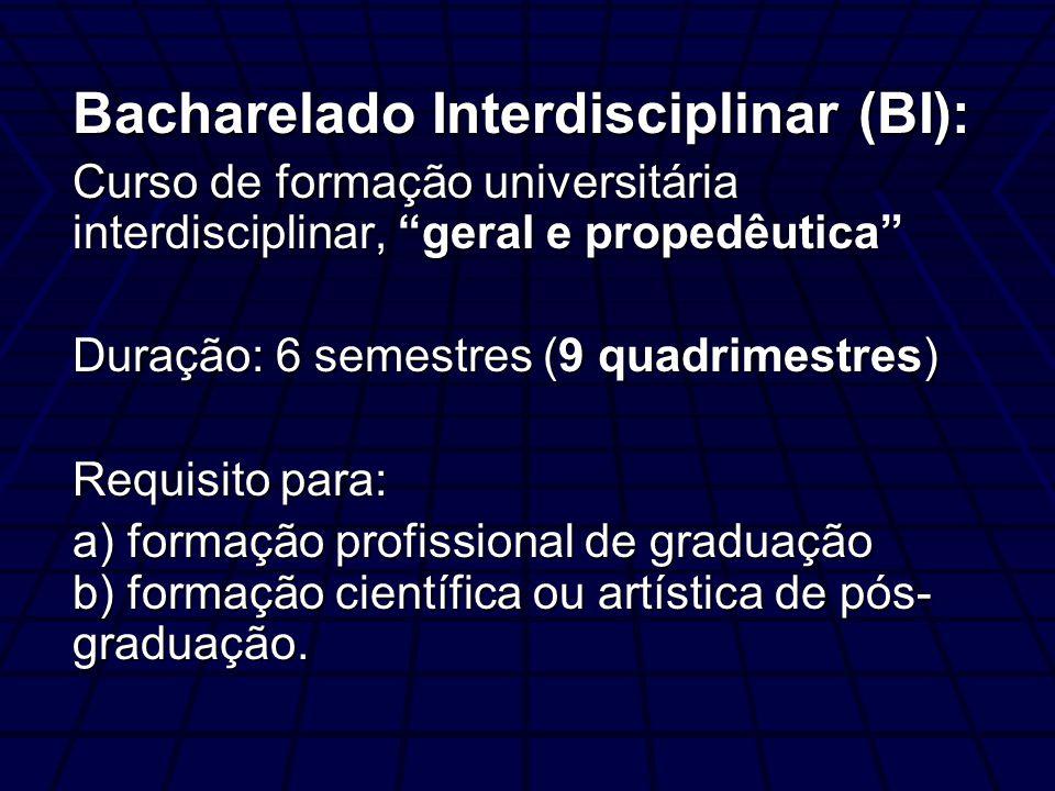 Bacharelado Interdisciplinar (BI): Curso de formação universitária interdisciplinar, geral e propedêutica Duração: 6 semestres (9 quadrimestres) Requisito para: a) formação profissional de graduação b) formação científica ou artística de pós- graduação.