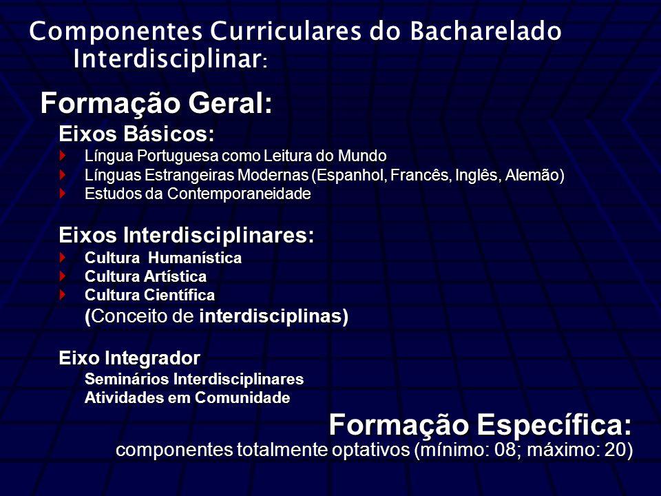 Formação Geral: Eixos Básicos: Língua Portuguesa como Leitura do Mundo Língua Portuguesa como Leitura do Mundo Línguas Estrangeiras Modernas (Espanhol