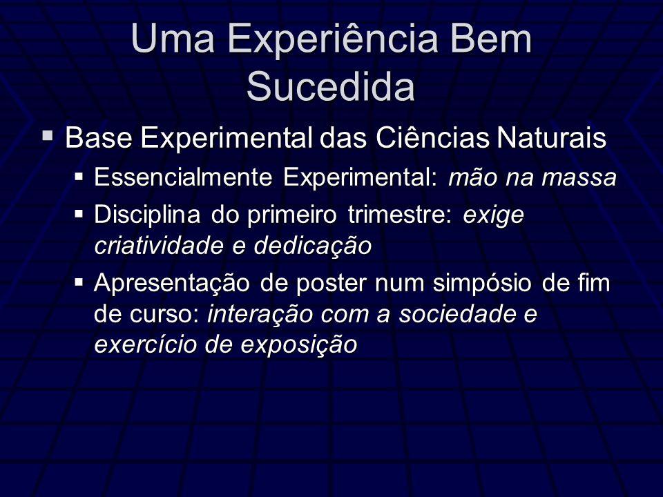 Uma Experiência Bem Sucedida Base Experimental das Ciências Naturais Base Experimental das Ciências Naturais Essencialmente Experimental: mão na massa
