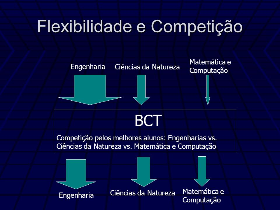Flexibilidade e Competição BCT Competição pelos melhores alunos: Engenharias vs.