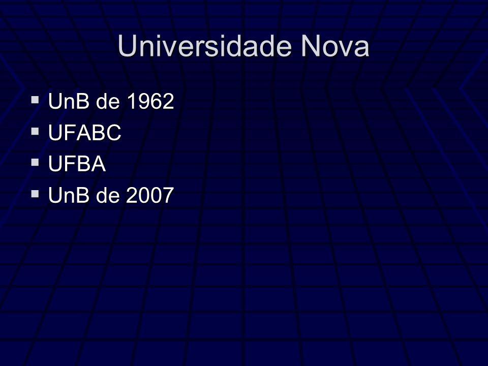 Universidade Nova UnB de 1962 UnB de 1962 UFABC UFABC UFBA UFBA UnB de 2007 UnB de 2007
