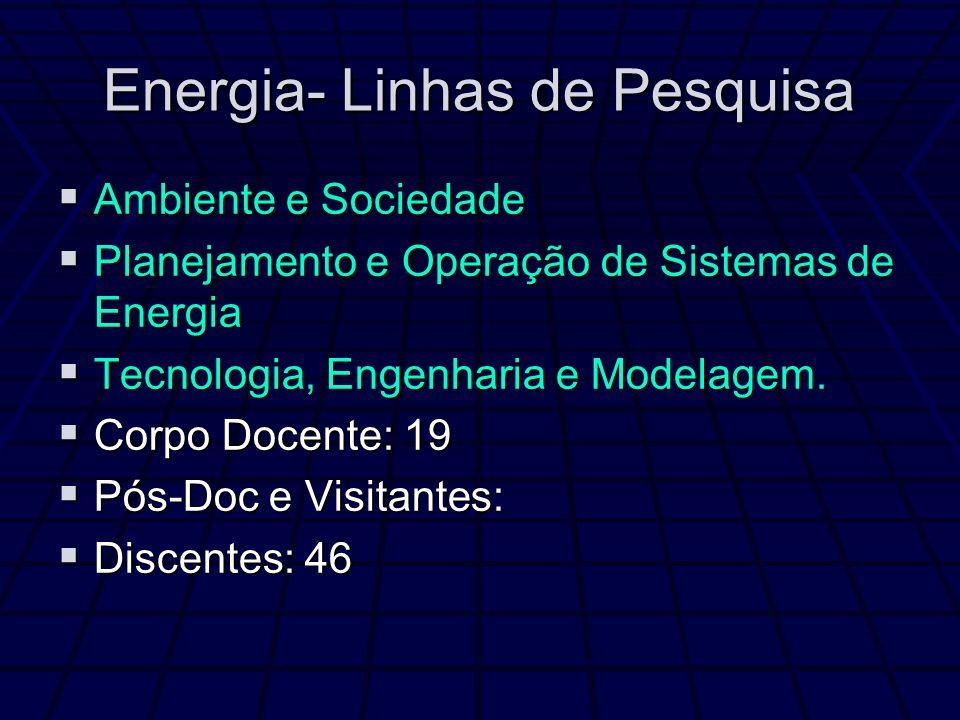Energia- Linhas de Pesquisa Ambiente e Sociedade Ambiente e Sociedade Planejamento e Operação de Sistemas de Energia Planejamento e Operação de Sistem