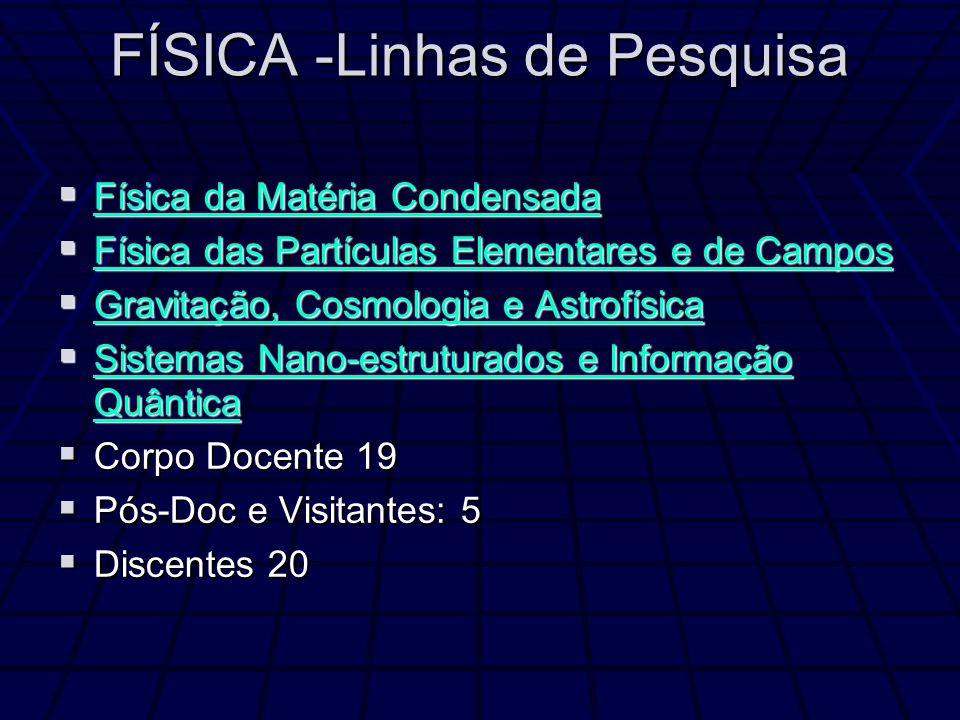 FÍSICA -Linhas de Pesquisa Física da Matéria Condensada Física da Matéria Condensada Física da Matéria Condensada Física da Matéria Condensada Física