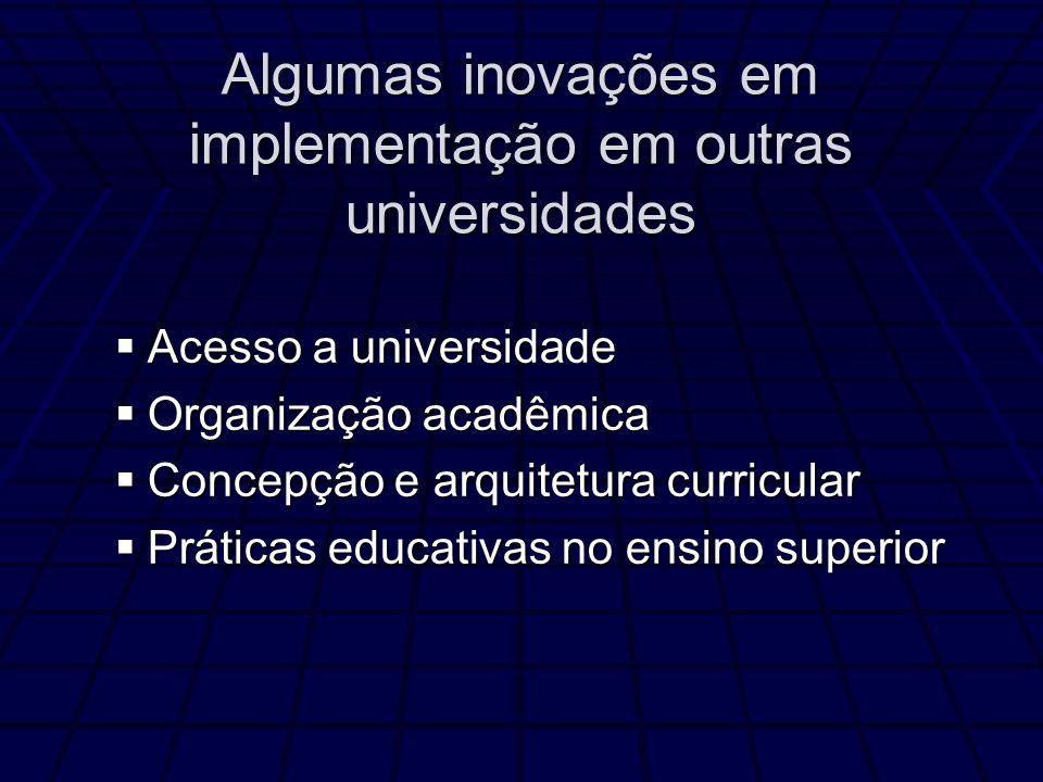 Algumas inovações em implementação em outras universidades Acesso a universidade Acesso a universidade Organização acadêmica Organização acadêmica Con