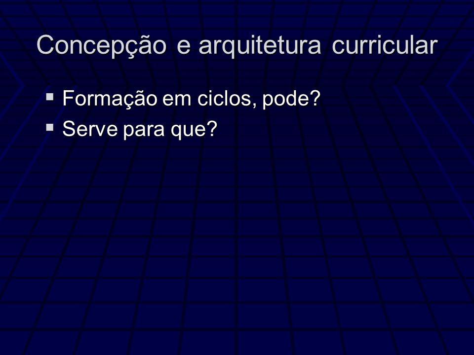 Concepção e arquitetura curricular Formação em ciclos, pode.