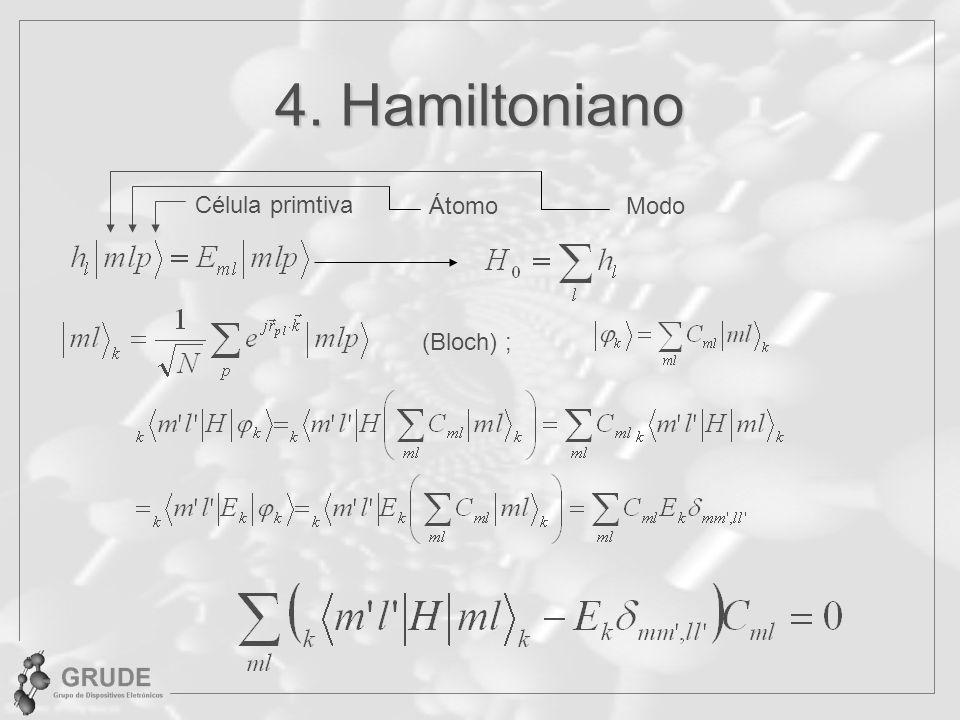4. Hamiltoniano ÁtomoModo Célula primtiva (Bloch) ;