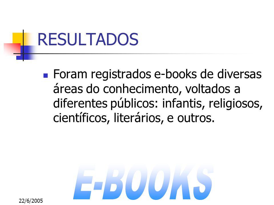 22/6/2005 RESULTADOS Foram registrados e-books de diversas áreas do conhecimento, voltados a diferentes públicos: infantis, religiosos, científicos, literários, e outros.