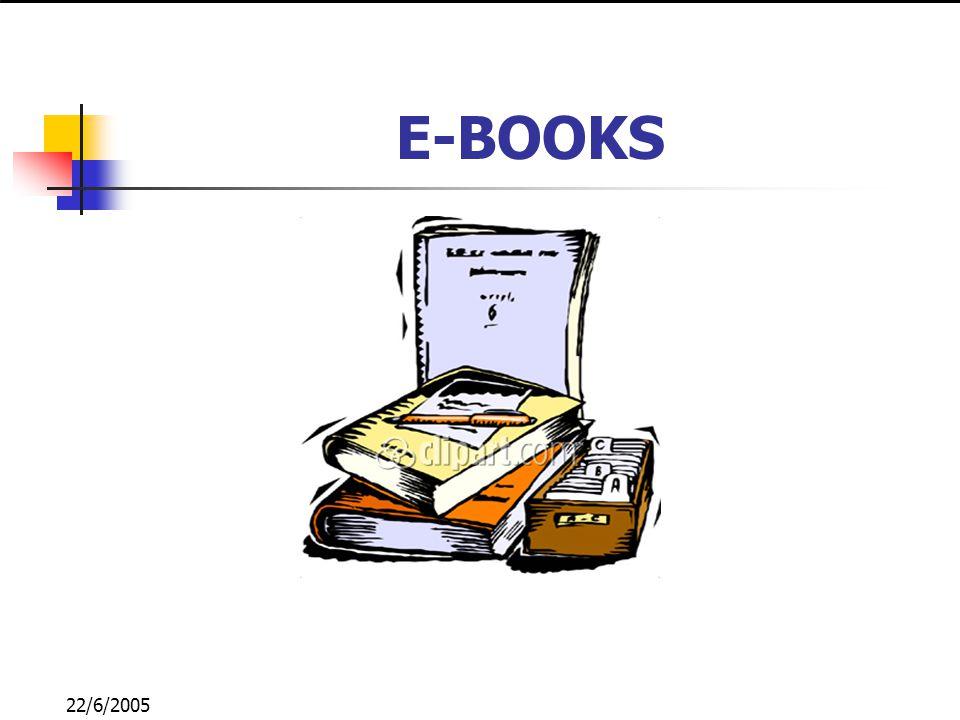 22/6/2005 CONCEITO E-book - livro apresentado através de um dispositivo eletrônico, que apresenta as mesmas características que um texto impresso tradicional.