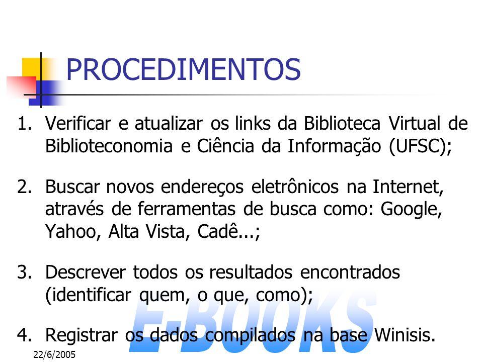 22/6/2005 PROCEDIMENTOS 1.Verificar e atualizar os links da Biblioteca Virtual de Biblioteconomia e Ciência da Informação (UFSC); 2.Buscar novos ender