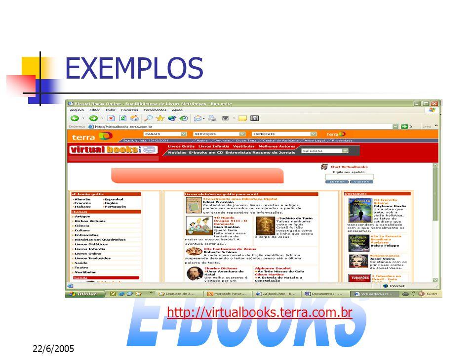 22/6/2005 EXEMPLOS http://www.estadinho.com.br/livros.html