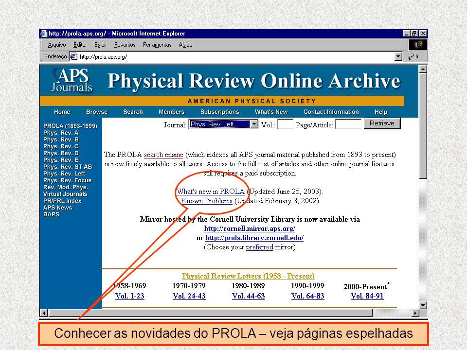 Conhecer as novidades do PROLA – veja páginas espelhadas