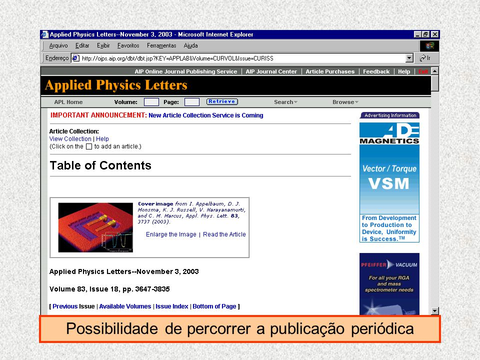 Possibilidade de percorrer a publicação periódica