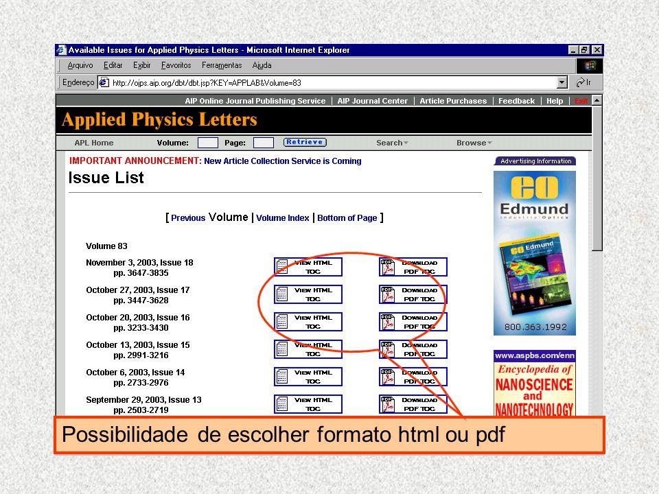 Possibilidade de escolher formato html ou pdf