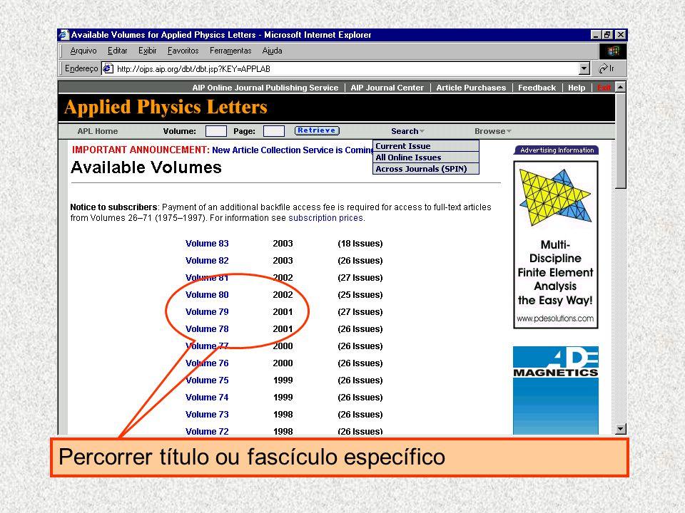 SPIN Searchable Physics Information Notices Possibilidade de escolher por ordem alfabética periódico