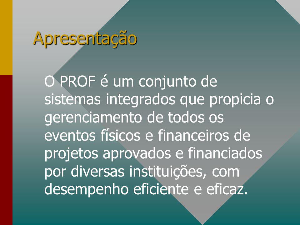 Apresentação O PROF é um conjunto de sistemas integrados que propicia o gerenciamento de todos os eventos físicos e financeiros de projetos aprovados e financiados por diversas instituições, com desempenho eficiente e eficaz.