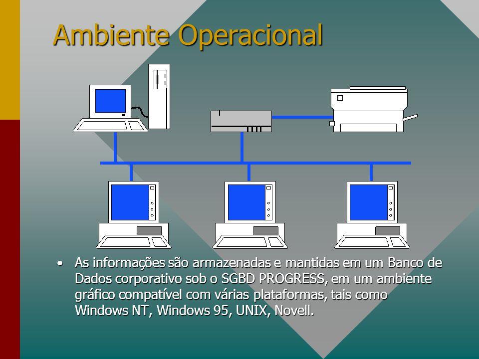 Ambiente Operacional As informações são armazenadas e mantidas em um Banco de Dados corporativo sob o SGBD PROGRESS, em um ambiente gráfico compatível com várias plataformas, tais como Windows NT, Windows 95, UNIX, Novell.As informações são armazenadas e mantidas em um Banco de Dados corporativo sob o SGBD PROGRESS, em um ambiente gráfico compatível com várias plataformas, tais como Windows NT, Windows 95, UNIX, Novell.