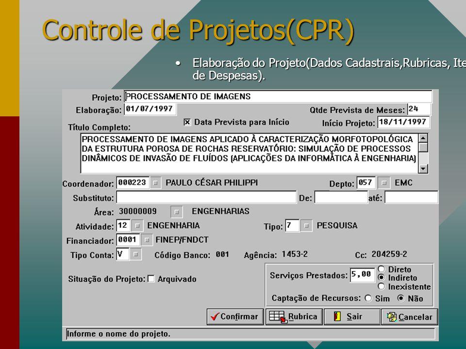 Controle de Projetos(CPR) Elaboração do Projeto(Dados Cadastrais,Rubricas, Itens de Despesas).Elaboração do Projeto(Dados Cadastrais,Rubricas, Itens de Despesas).