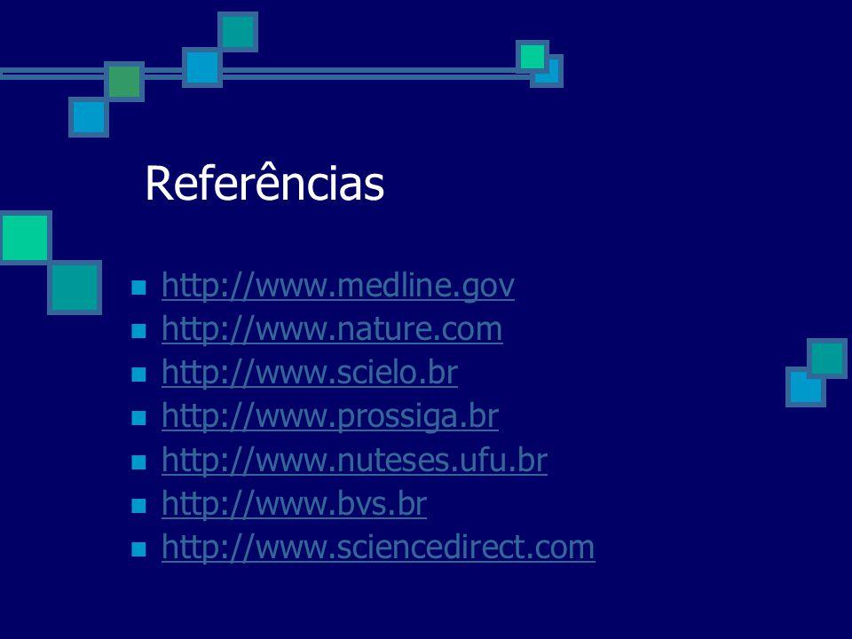 Referências http://www.medline.gov http://www.nature.com http://www.scielo.br http://www.prossiga.br http://www.nuteses.ufu.br http://www.bvs.br http: