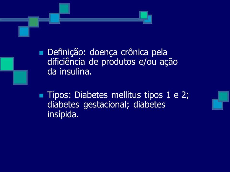 Definição: doença crônica pela dificiência de produtos e/ou ação da insulina. Tipos: Diabetes mellitus tipos 1 e 2; diabetes gestacional; diabetes ins