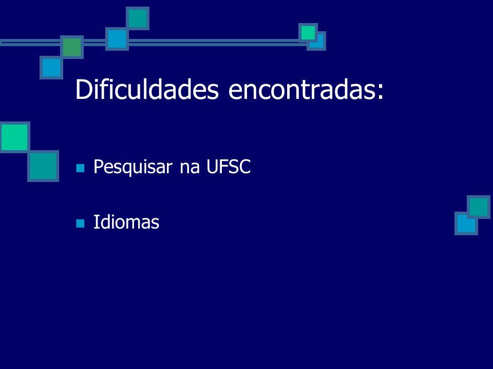 Dificuldades encontradas: Pesquisar na UFSC Idiomas