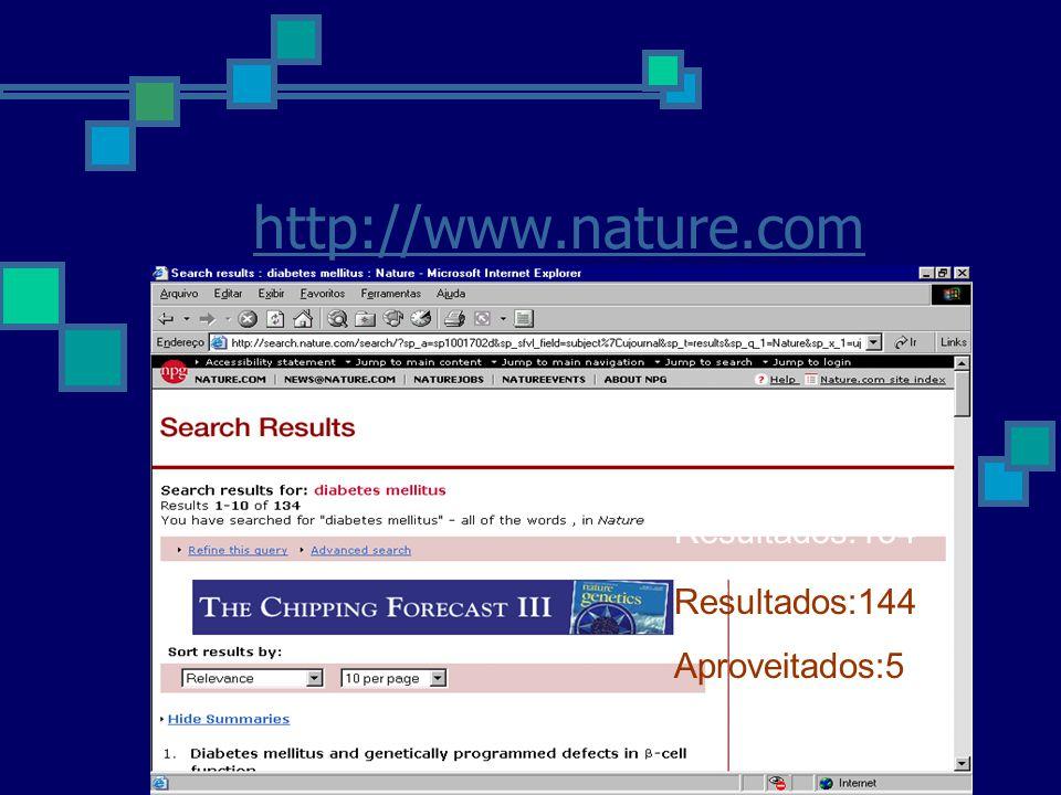 http://www.nature.com Resultados:134 Aproveitados:5 Resultados:144 Aproveitados:5