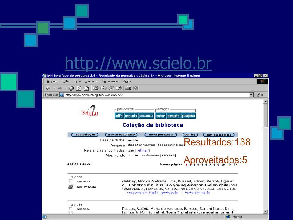 http://www.scielo.br Resultados:138 Aproveitados:5