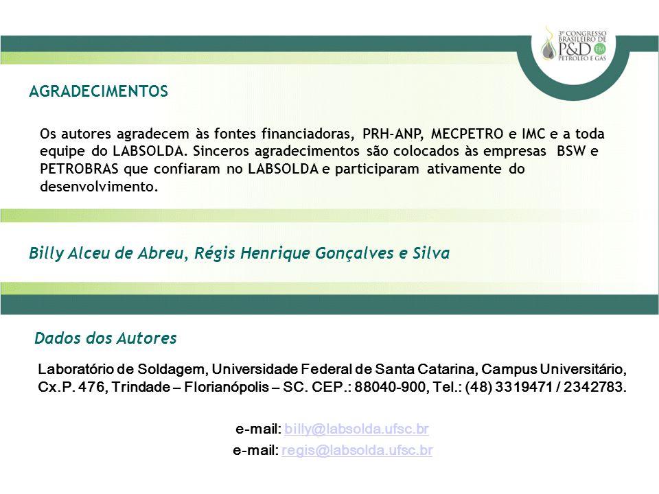 Billy Alceu de Abreu, Régis Henrique Gonçalves e Silva AGRADECIMENTOS Dados dos Autores Os autores agradecem às fontes financiadoras, PRH-ANP, MECPETR