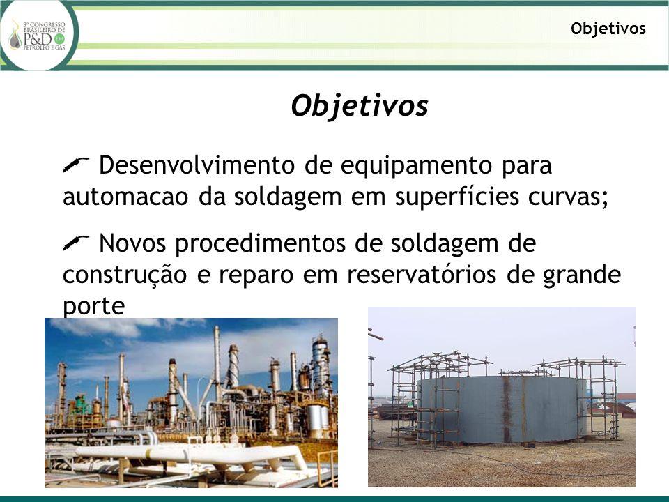 Objetivos Desenvolvimento de equipamento para automacao da soldagem em superfícies curvas; Novos procedimentos de soldagem de construção e reparo em r