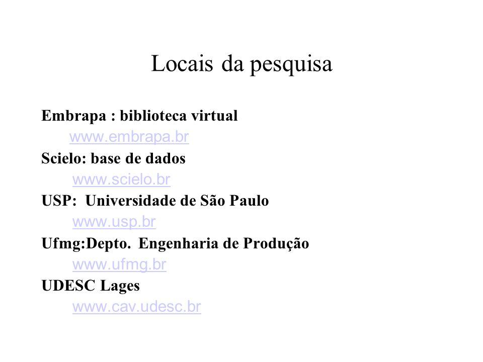 Locais da pesquisa Embrapa : biblioteca virtual www.embrapa.br Scielo: base de dados www.scielo.br USP: Universidade de São Paulo www.usp.br Ufmg:Depto.