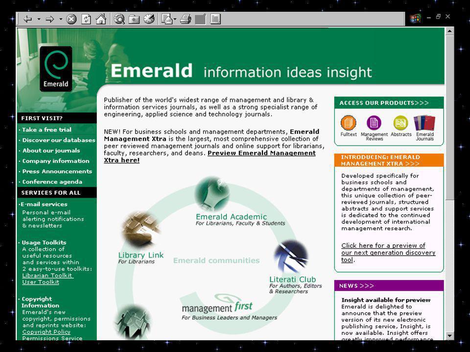 4) PESQUISA: EMERALD information ideas insight URL: www.emeraldinsight.comwww.emeraldinsight.com Referências encontradas: 176 Referências aproveitadas: 04