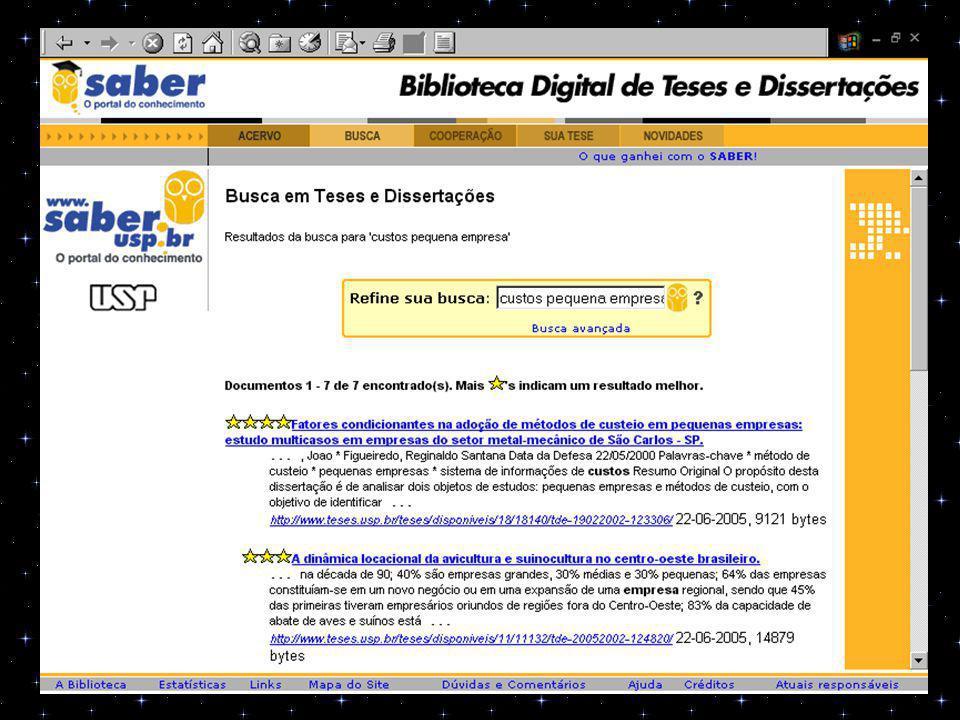 5) PESQUISA: Biblioteca Digital de Teses e Dissertações USP URL: http://www.teses.usp.br http://www.teses.usp.br Referências encontradas: 155 Referências aproveitadas: 04