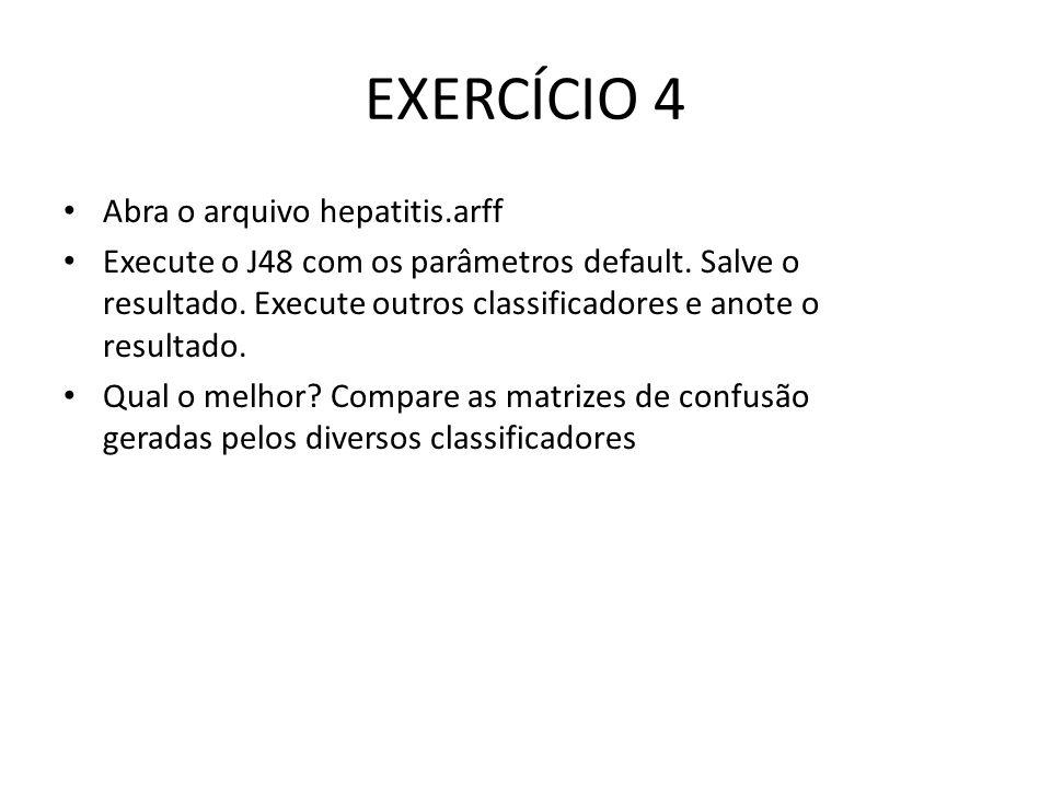 EXERCÍCIO 4 Abra o arquivo hepatitis.arff Execute o J48 com os parâmetros default. Salve o resultado. Execute outros classificadores e anote o resulta