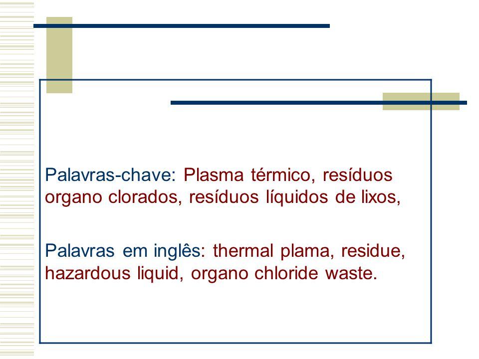 Palavras-chave: Plasma térmico, resíduos organo clorados, resíduos líquidos de lixos, Palavras em inglês: thermal plama, residue, hazardous liquid, or
