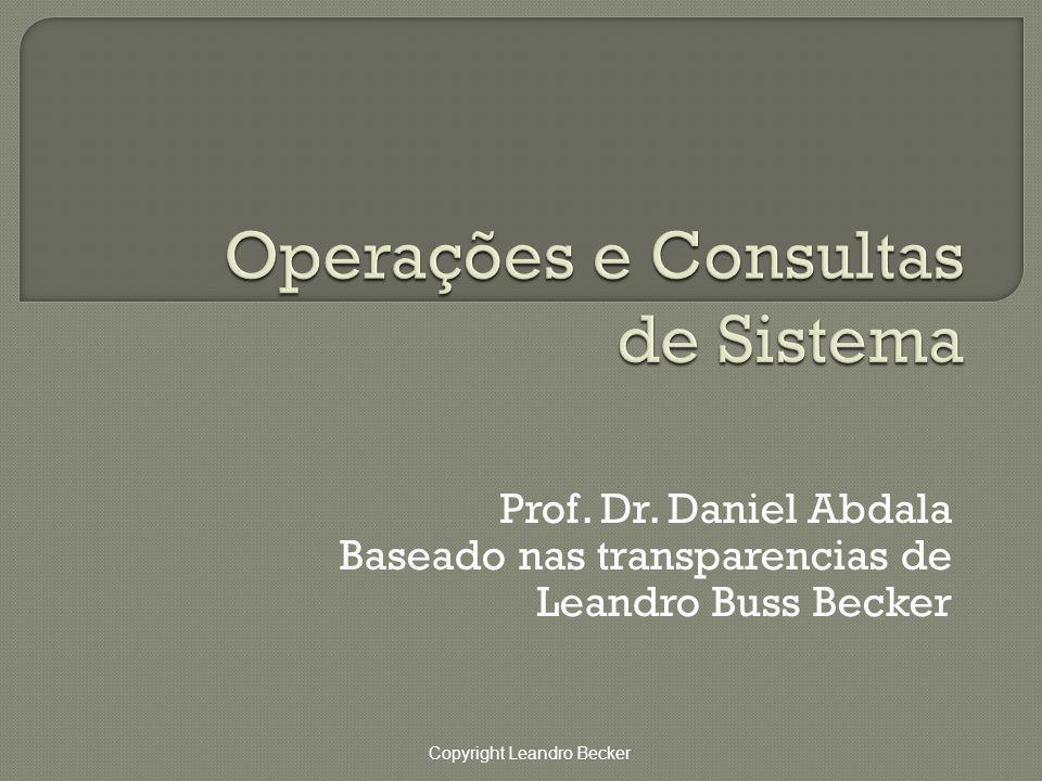 Copyright Leandro Becker Prof. Dr. Daniel Abdala Baseado nas transparencias de Leandro Buss Becker