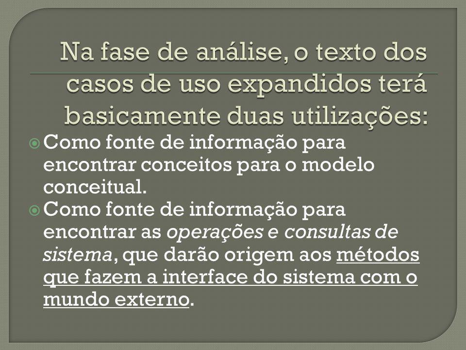 Como fonte de informação para encontrar conceitos para o modelo conceitual. Como fonte de informação para encontrar as operações e consultas de sistem