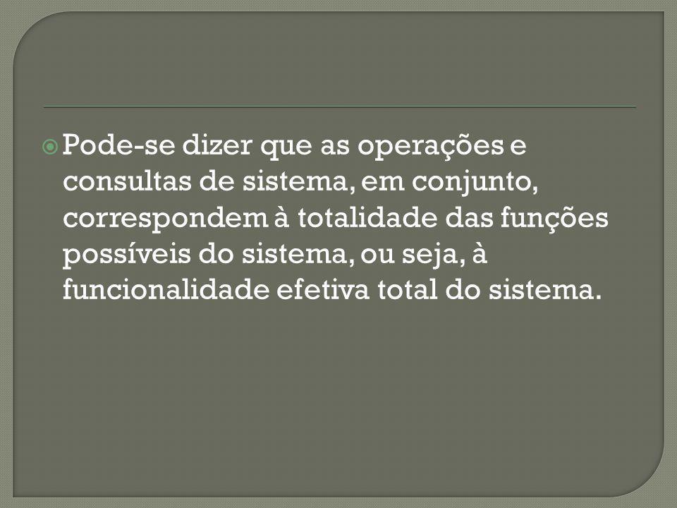 Pode-se dizer que as operações e consultas de sistema, em conjunto, correspondem à totalidade das funções possíveis do sistema, ou seja, à funcionalidade efetiva total do sistema.