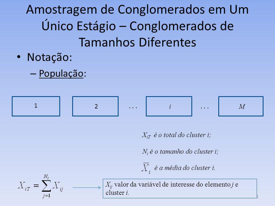 Amostragem de Conglomerados em Um Único Estágio – Conglomerados de Tamanhos Diferentes Notação: – População: 1 2 iM... X iT é o total do cluster i; N