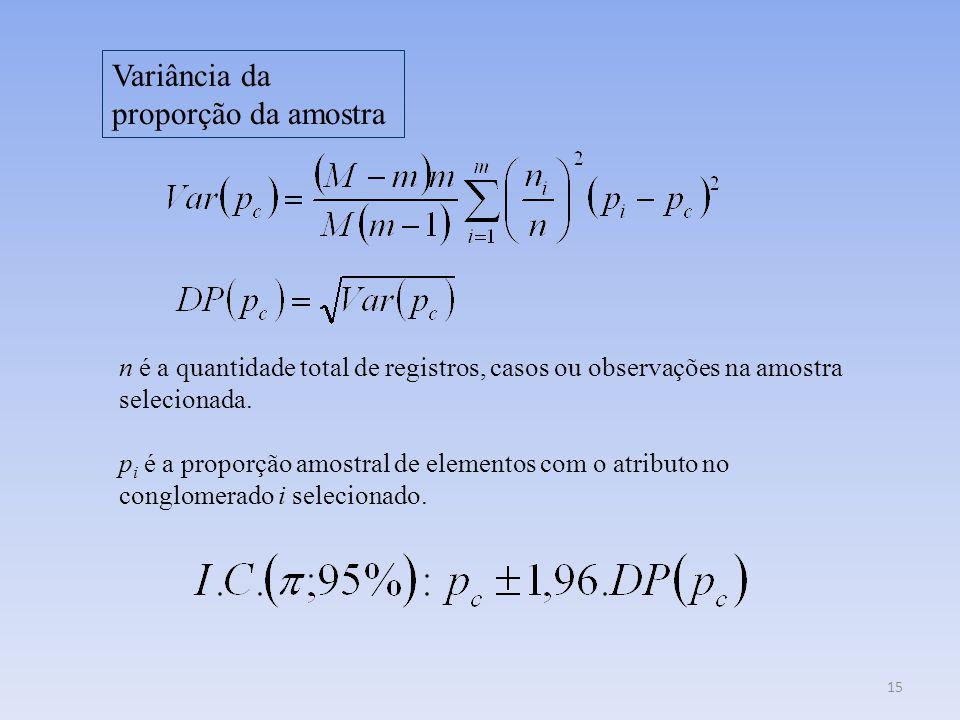 15 Variância da proporção da amostra n é a quantidade total de registros, casos ou observações na amostra selecionada. p i é a proporção amostral de e
