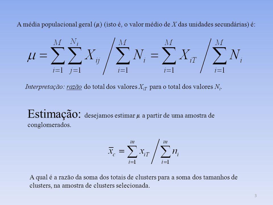 14 Estimador: Proporção na amostra x iT é a quantidade de elementos que possuem o atributo no conglomerado i.