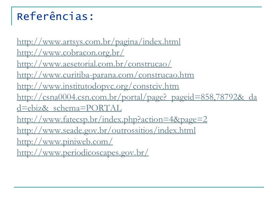 Referências: http://www.artsys.com.br/pagina/index.html http://www.cobracon.org.br/ http://www.aesetorial.com.br/construcao/ http://www.curitiba-parana.com/construcao.htm http://www.institutodopvc.org/constciv.htm http://csna0004.csn.com.br/portal/page _pageid=858,78792&_da d=ebiz&_schema=PORTAL http://www.fatecsp.br/index.php action=4&page=2 http://www.seade.gov.br/outrossitios/index.html http://www.piniweb.com/ http://www.periodicoscapes.gov.br/ http://www.artsys.com.br/pagina/index.html http://www.cobracon.org.br/ http://www.aesetorial.com.br/construcao/ http://www.curitiba-parana.com/construcao.htm http://www.institutodopvc.org/constciv.htm http://csna0004.csn.com.br/portal/page _pageid=858,78792&_da d=ebiz&_schema=PORTAL http://www.fatecsp.br/index.php action=4&page=2 http://www.seade.gov.br/outrossitios/index.html http://www.piniweb.com/ http://www.periodicoscapes.gov.br/
