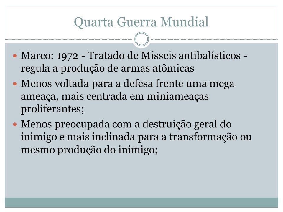 Quarta Guerra Mundial Marco: 1972 - Tratado de Mísseis antibalísticos - regula a produção de armas atômicas Menos voltada para a defesa frente uma meg