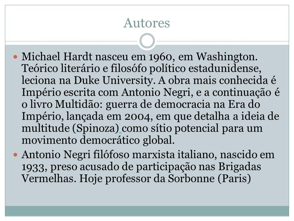 Prefácio Livro de filosofia que se propõe a repensar os conceitos de poder, resistência, multidão e democracia - bases conceituais para um novo tipo de democracia.